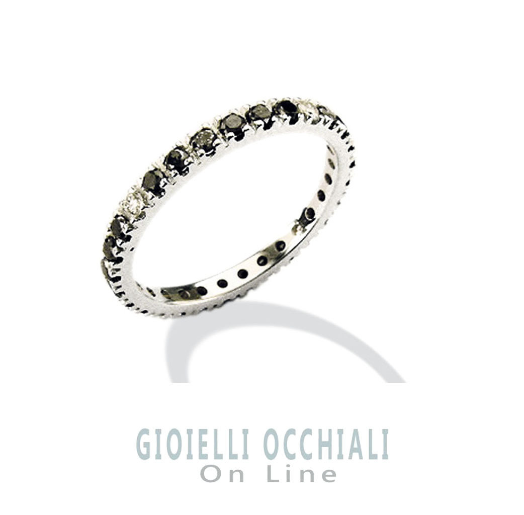 Mens white gold ring with black diamonds