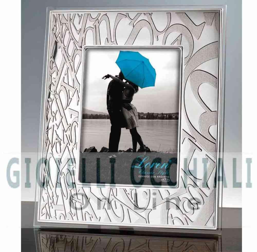 Portafoto con cornice d\'argento e cristallo Portafoto Loren New Style