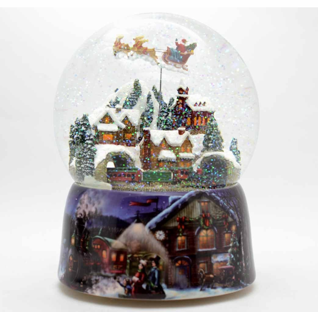 Snow globe with santa claus turning sow globes christmas