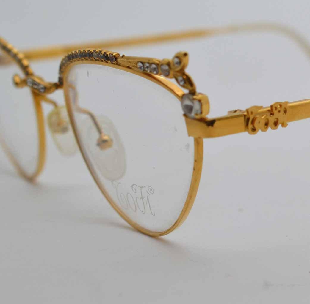 Vintage Gold Eyeglass Frames : Tofi vintage gold eyeglasses for women. Vintage cat eye ...