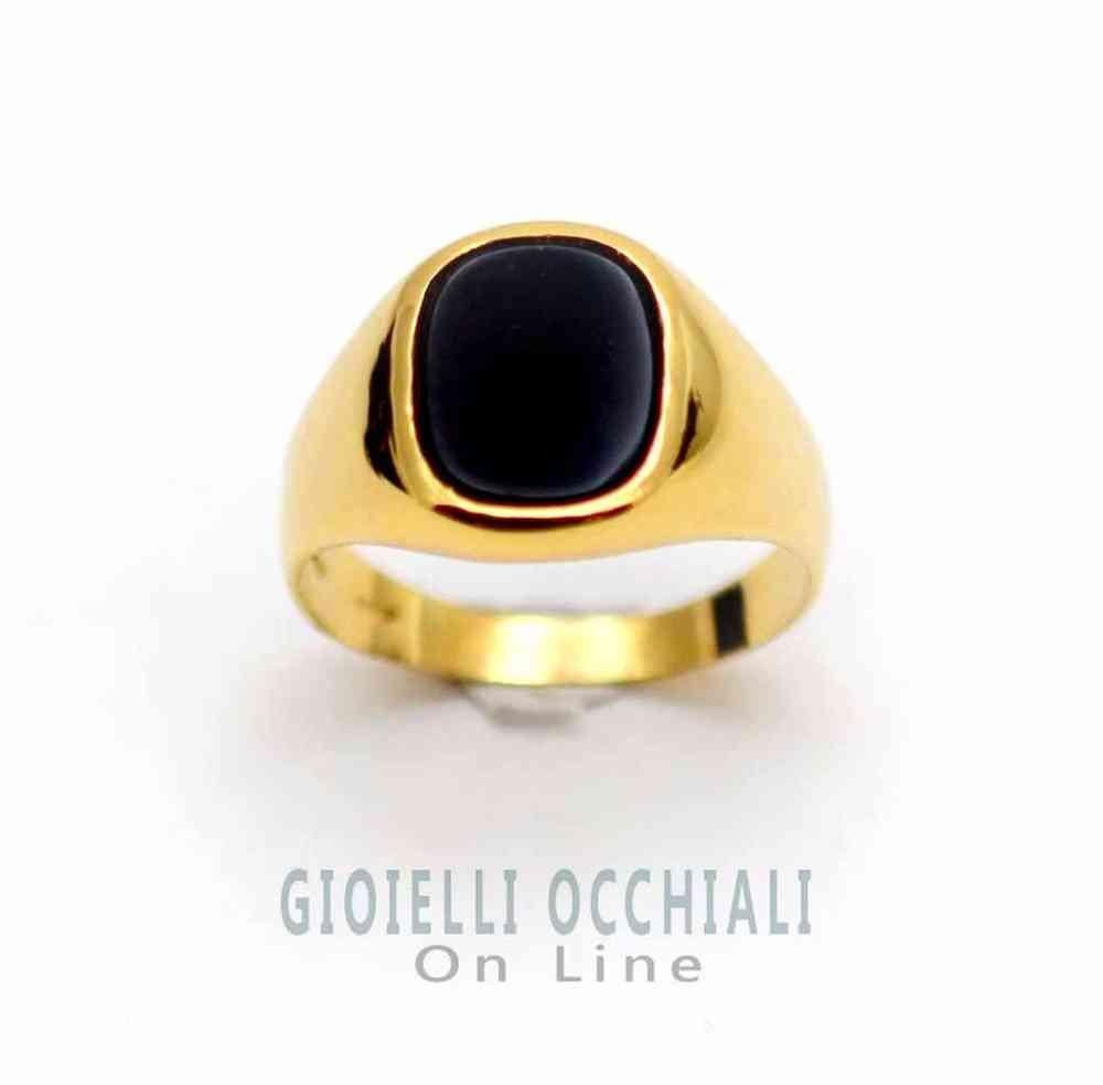 anello oro con pietra nera