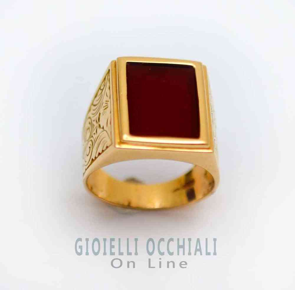 Mens Gold Ring With Red Stone Carnelian