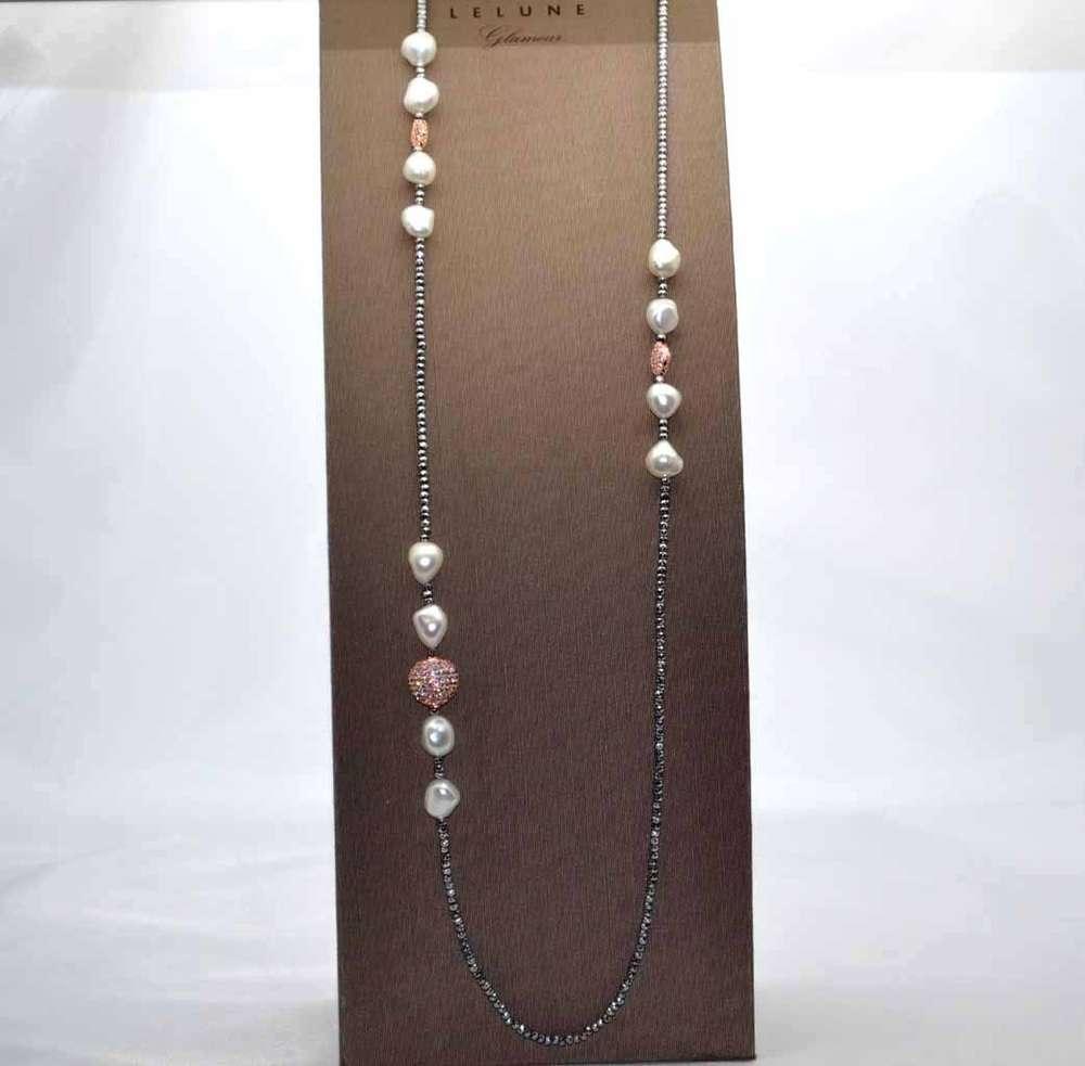 f68e96d1dc47fc Collana ematite, perle e argento rosa, collane perle fantasia