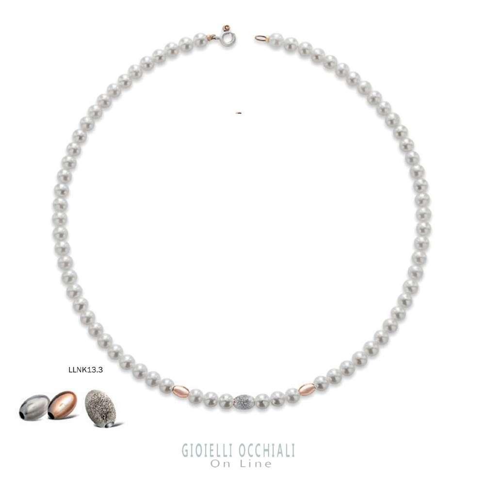 da15bd1d7a897a Le Lune collana perle oro bianco e rosa. Collane perle donna.