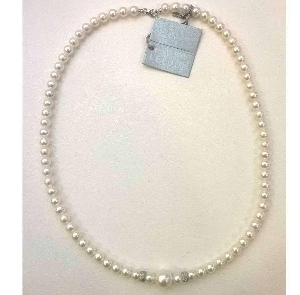 890a3cb27394a4 Le Lune collana di perle oro bianco. Collane di perle coltivate