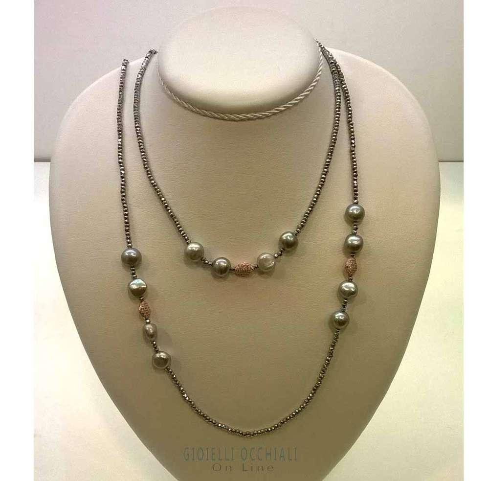 e56a3f9052b3ee Collana ematite argento rosa e perle nere, collane perle fantasia