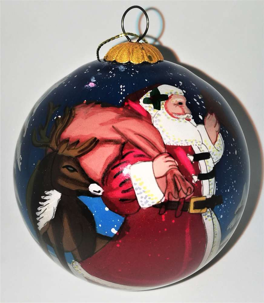 Palla Di Natale Con Foto Digitali.Palla Di Natale Di Vetro Soffiato Con Babbo Natale